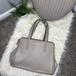 Kate Spade Large Taupe Three Compartment Tote Bag